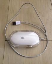 Apple Pro Mouse White rare working tested original wired sleek scroll co... - $17.05