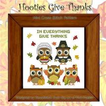 Hooties Give Thanks cross stitch chart Pinoy Stitch - $7.20