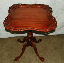 Mahogany Carved Lamp Table with Ball and Claw Chippendale Feet  (T287) - $499.00