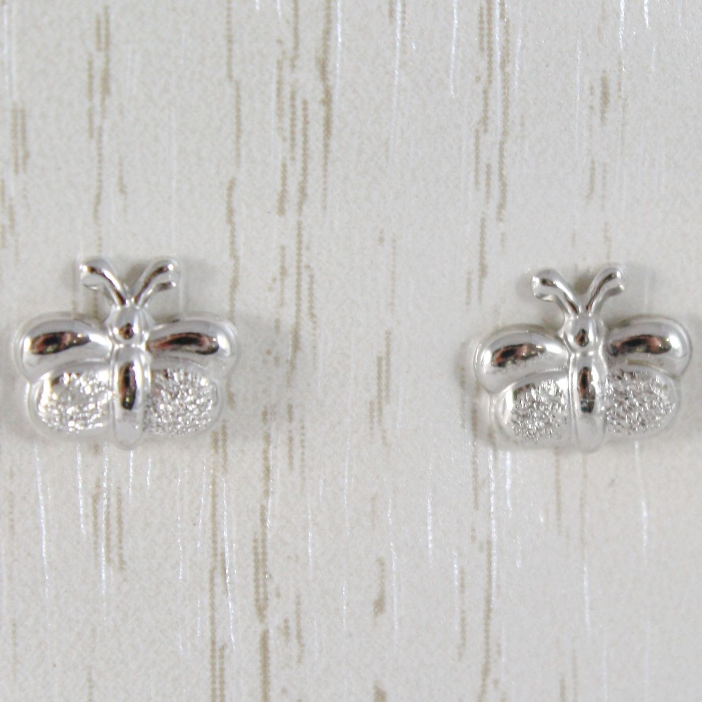 WHITE GOLD EARRINGS 750 18K LOBE, WITH BUTTERFLY LUCID AND SATIN