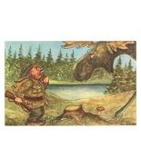 comic postcard Konst hunter moose signed Edgren vintage Denmark vintage - $5.50