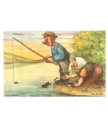 comic postcard Konst fishing signed Edgren couple vintage  - $5.50
