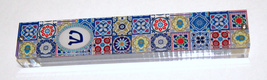 Judaica Mezuzah Case Perspex Colorful Geometric Mosaic Print Pattern 10 cm image 2