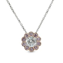 0.75Cts Colorless Diamond Halo Pendant Necklace Set in 18K White Rose Gold - £2,677.92 GBP