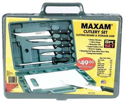6pc Knife Set w Cutting Board & Case Camping Kitchen RV