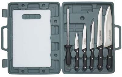 6pc Knife Set w Cutting Board & Case Camping Kitchen RV
