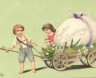 The Easter Wagon Vintage  Post Card