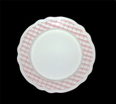 "Pink Plaid Border Scalloped Edge 13"" Ceramic Platter NEW Qty Avail Portu... - $17.99"