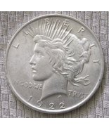 1922 P 90% Silver Peace Dollar AU-BU condition. Free shipping - $40.00