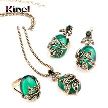 Kinel 3Pcs Green Oval Crystal Flower Jewelry Sets Antique Gold Vintage R... - $314,67 MXN