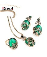 Kinel 3Pcs Green Oval Crystal Flower Jewelry Sets Antique Gold Vintage R... - $19.20 CAD