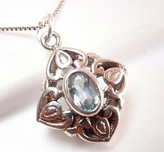 Blue Topaz Pendant Small Faceted 925 Sterling Silver Floral Filigree Style New - $13.85
