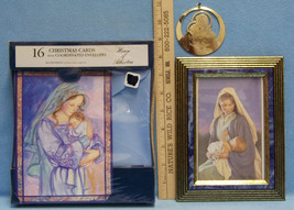 16 Christmas Cards & Envelopes Gold Ornament & Framed Picture of Mother ... - $13.85