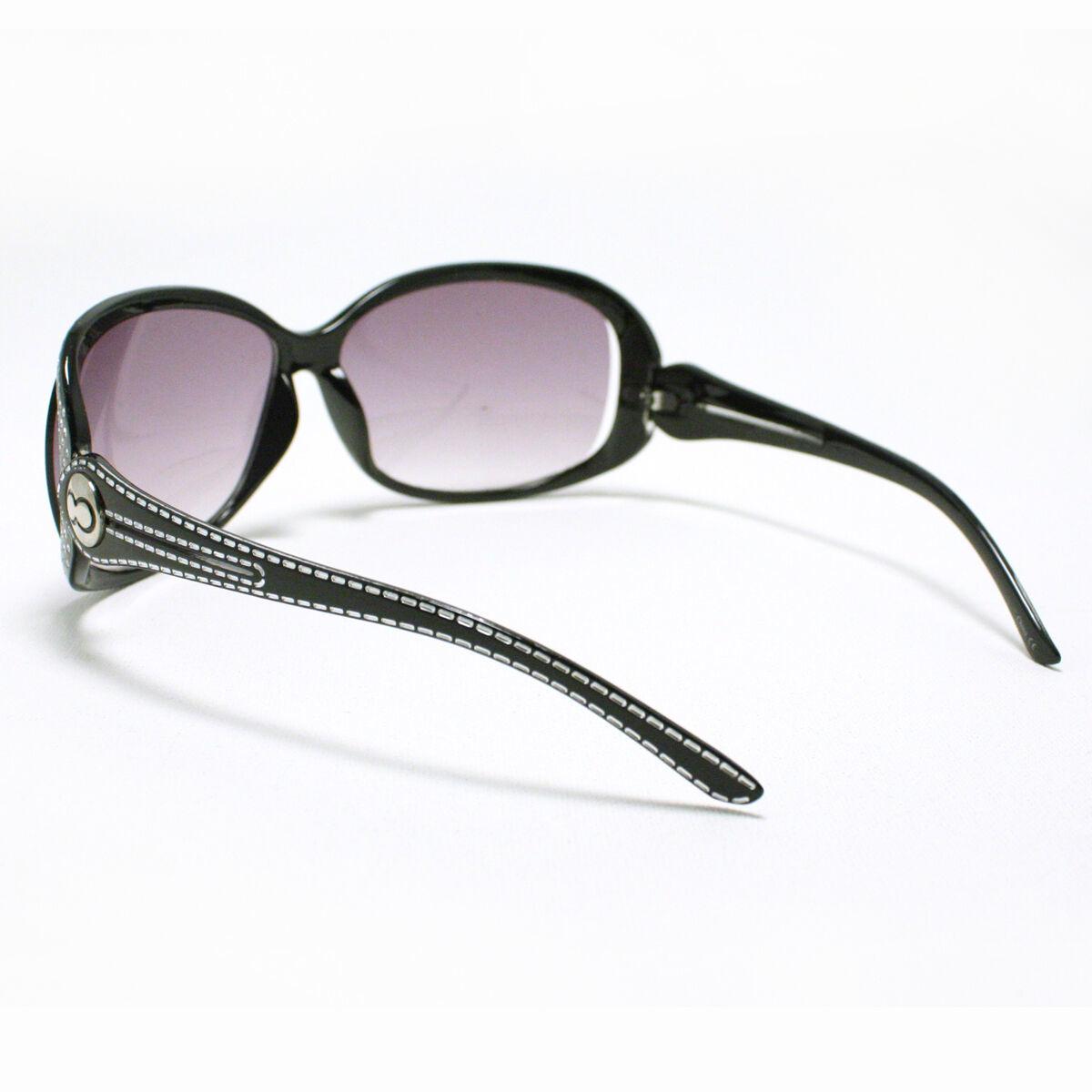 Womens Oversized Sunglasses Round Unique Designer Frame BLACK