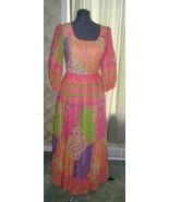 Vintage neon boho hippie 60's 70's dress maxi gown costume retro production - $30.00