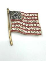 Vintage Large Patriotic Gold Tone Enamel American Flag Brooch - $34.99