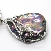 Silber Anhänger 925, Drei Perlen Barock-Stil, Disco Tropf, Zirkonia, Made Italy image 3