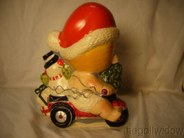 Vaillancourt Folk Art Baby Santa on a Trike with Snowman Signed  image 3