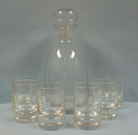 Glass Decanter and 6 Shot Glasses