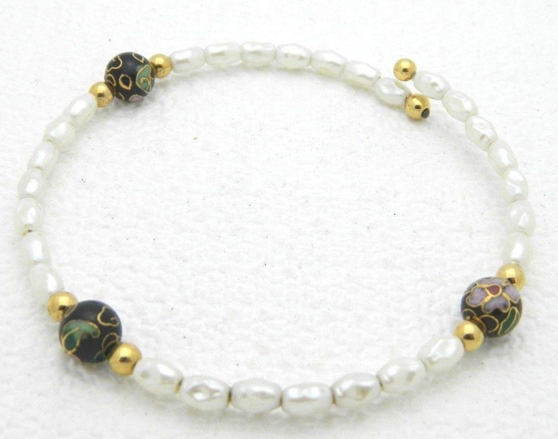 VTG Faux Pearl Black Cloisonne Floral Bead Bracelet
