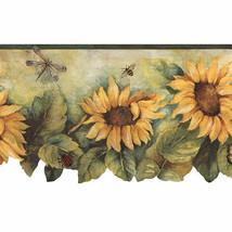 Die Cut Sunflower Wallpaper Border Yellow, Green Norwall Wallcovering BG... - $18.99