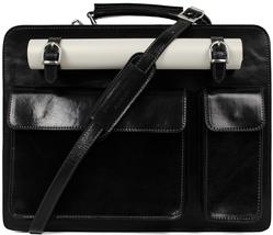 New Time Resistance Black Leather Briefcase Shoulder Bag Laptop Bag - $224.00