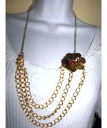 3  STRAND  gold tone chain necklace w FLOWER bi... - $28.99