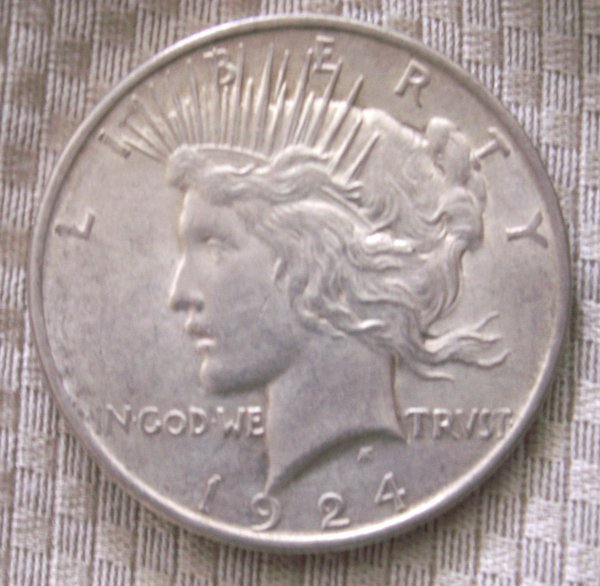 Primary image for 1924 P 90% Silver Peace Dollar BU condition. Free shipping
