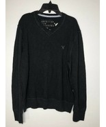 American Eagle Outfitters Long Sleeve V-neck Sweater Men's Large Black P... - $12.13