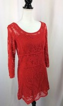 Express Red Sheer Floral Lace Overlay Mini Dress Size Small - $19.62