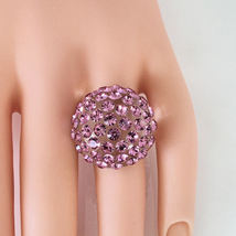 New Clear Acrylic Domed Ring Made With Pink Swarovski Elements Crystals On Dome image 2