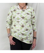 Pure J Jill Blouse M size New Long Sleeve Tee Shirt Green White Brown Ty... - $24.89