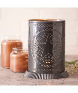 PUNCHED TIN CANDLE WARMER Handmade Accent Light Star Pattern in Country ... - $32.93