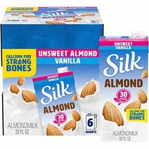 Silk Almond Milk, Unsweetened Vanilla, 32 Fluid Ounce Pack of 6, Vanilla Flavore