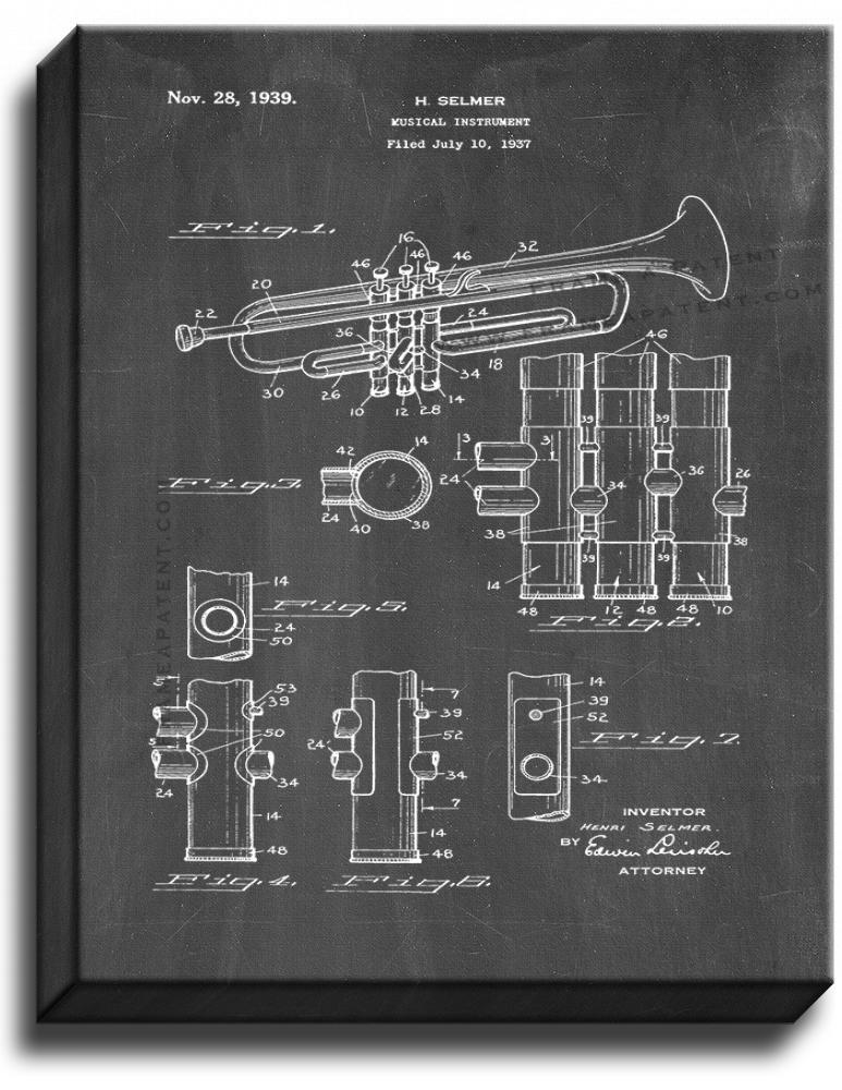 Primary image for Trumpet Patent Print Chalkboard on Canvas