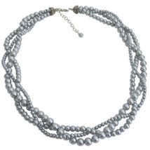 3 Strand Pearl Necklace Gray Twisted Pearl Necklace Bridal Party Necklace Gray  - $20.00