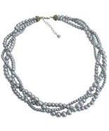 3 Strand Pearl Necklace Gray Twisted Pearl Necklace Bridal Party Necklac... - $20.00