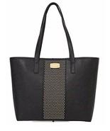 MICHAEL Michael Kors studded CENTER STRIPE Black Small Travel Tote Bag - $188.09