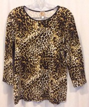 JM Collection Knit Top L Animal Print Cotton Blend 3/4 Sleeve Round Neck... - $22.43