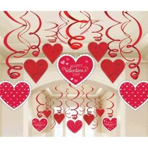Valentines Day Hearts 30 Ct Hanging Swirls Decorations - $12.99
