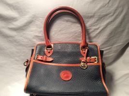 Vintage Dooney & Bourke Navy Blue  Leather Buckle Satchel  - $45.53