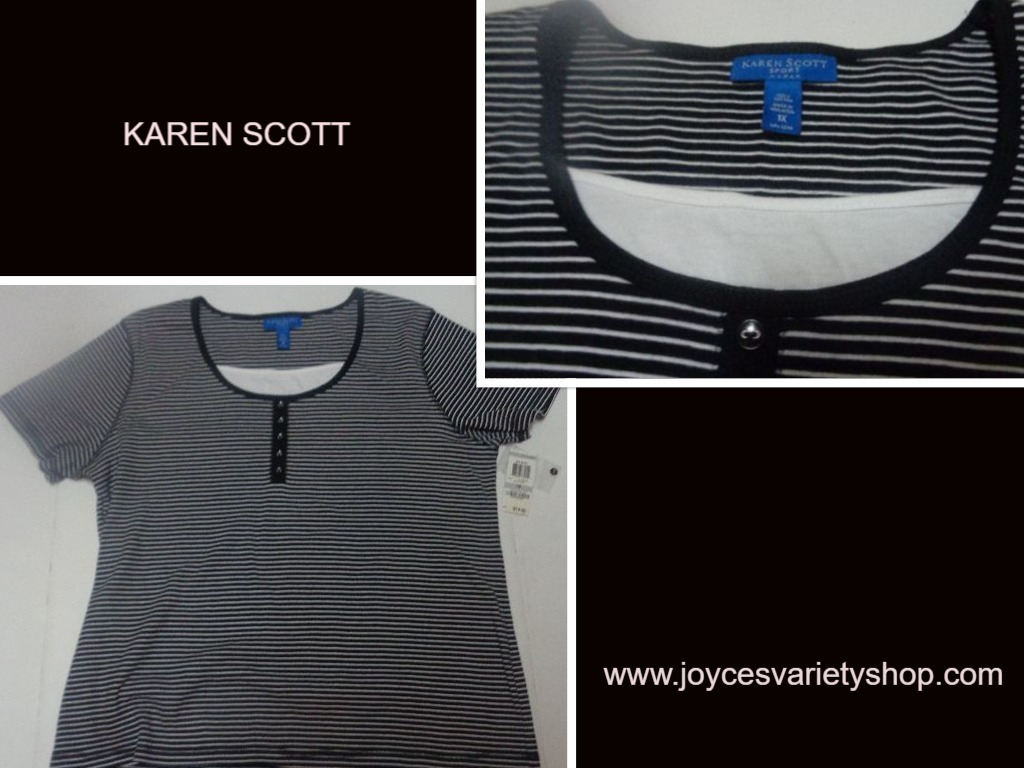 Karen scott black striped blouse web collage