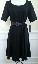 AGB Women's Belted A-Line Dress Solid Black Flare Short Sleeve Ponte Kni... - $31.99