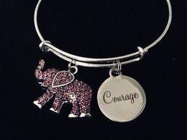 Courage Jewelry Pink Elephant Represents Strength Expandable Charm Bracelet Adju - $25.99
