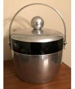 Kromex Aluminum Ice Bucket w Black Bakelite Band Vintage 50's Barware MC... - $29.99