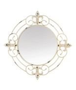 """Cool Wall Mirror 28"""" x 28"""" Round Fleur De Lis Distressed White Hall Bed ... - $104.50"""