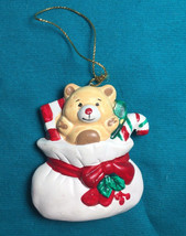 Russ Teddy Bear Christmas Child's Cute Ornaments Candy Cane Present  - $8.79
