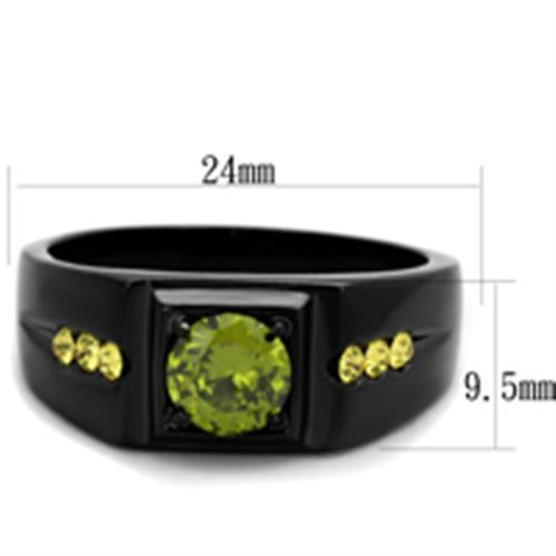 Men's 1 Ct Olivine Green Simulated Diamond Stainless Steel Ring in Black