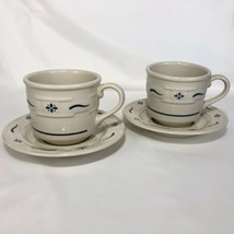 2 Sets LONGABERGER Cups and Saucer Heritage Classic Blue Cream Woven Tra... - $24.70