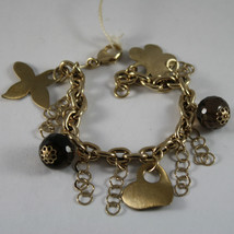 .925 RHODIUM SILVER YELLOW GOLD PLATED BRACELET WITH SMOKY QUARTZ AND CHARMS image 1